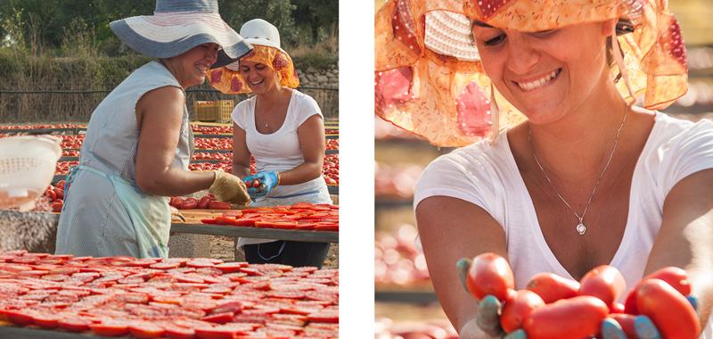 Salatura e spacco pomodori essiccati al sole